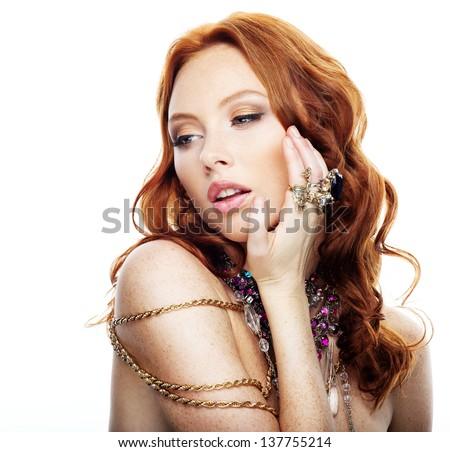 Beautiful model with luxury jewelry - stock photo
