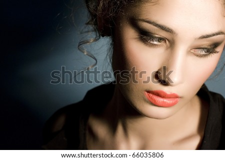 beautiful model with red lips posing fashion in studio - stock photo