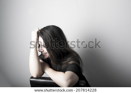 Beautiful model / woman laughing   - stock photo