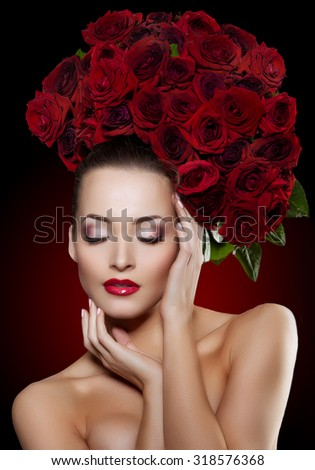 Beautiful model woman rose flower in hair beauty salon makeup Young modern girl in luxurious spa Lady make up Mascara for long lashes lipstick on lips eye shadow shiny hair  Products Treatment - stock photo