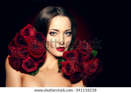 Beautiful model woman rose flower in hair beauty salon makeup Young modern woman in luxurious spa Lady make up Mascara for long lashes lipstick on lips eye shadow shiny hair  Products Treatment - stock photo