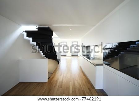 beautiful modern apartment, loft duplex - stock photo