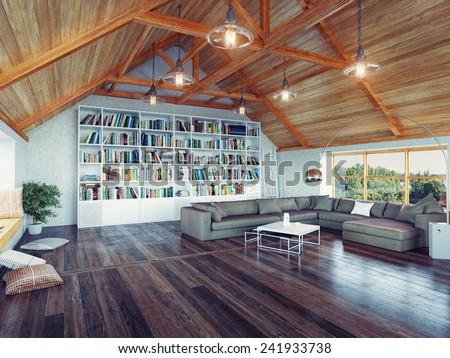 beautiful modern attic interior 3d design concept. Realistic DOF effect - stock photo