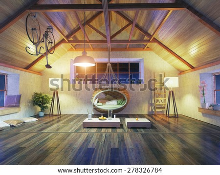 beautiful modern attic interior with hanging sofa. 3d design concept. - stock photo