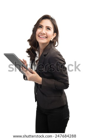 beautiful modern business woman holding tablet computer