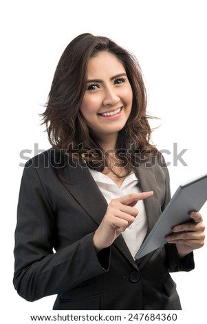 beautiful modern business woman holding tablet computer - stock photo