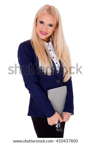 beautiful modern businesswoman holding tablet computer  - stock photo