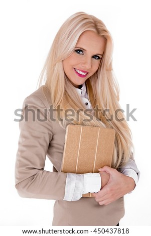 beautiful modern businesswoman holding tablet computer