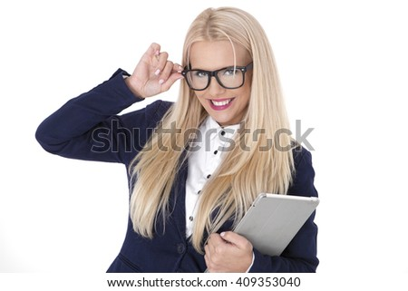 beautiful modern businesswoman holding tablet computer with colleague on background - stock photo