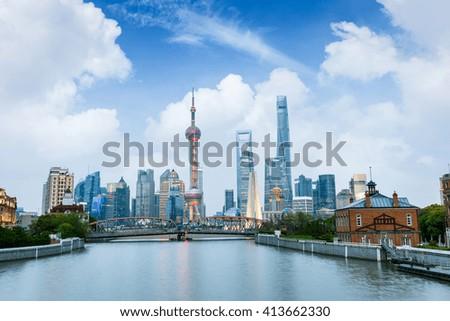 Beautiful modern city at dusk in Shanghai, China - stock photo