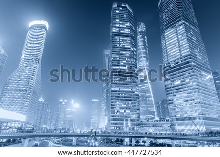 Beautiful modern cityscape at night in Shanghai,China