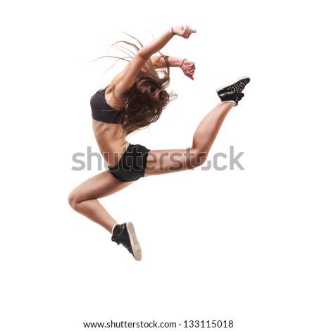 beautiful modern dancer posing on white background - stock photo
