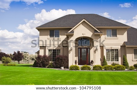 beautiful modern design house home blue stock photo 104795108