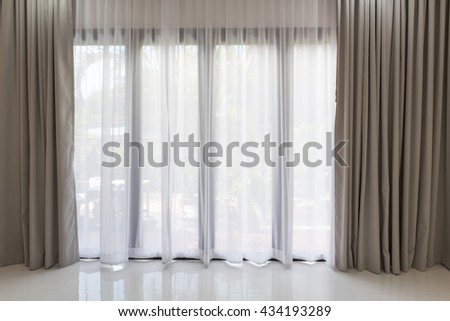 white curtains living room. Beautiful modern grey and white curtains in living room Modern Grey White Curtains Living Stock Photo  Royalty