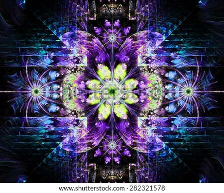 Beautiful modern high resolution abstract fractal background with a detailed flower pattern and detailed crystal shaped geometric decoration, all in bright blue,purple,yellow,green - stock photo