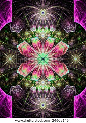 Beautiful modern high resolution abstract fractal background with a detailed flower pattern with crystal shaped geometric leaves in bright glowing and shining pink,green,yellow colors - stock photo