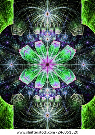 Beautiful modern high resolution abstract fractal background with a detailed flower pattern with crystal shaped geometric leaves in bright glowing and shining green,pink,purple,blue colors - stock photo