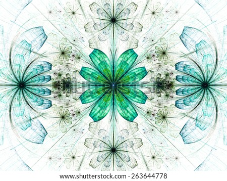 Beautiful modern high resolution abstract fractal background with a detailed flower pattern with crystal shaped geometric leaves, all in dark green and cyan - stock photo