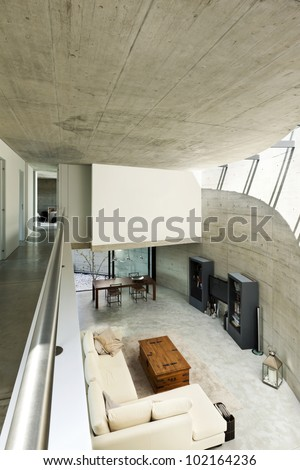 beautiful modern house in cement, interior, living room top view
