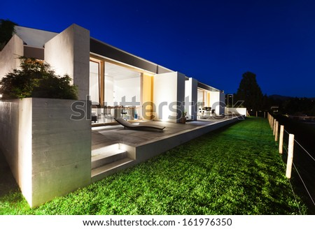 Modern House xterior Night Stock Photos, oyalty-Free Images ... - ^
