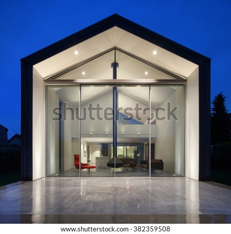 beautiful modern house, night scene - stock photo