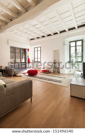 Beautiful modern house, rustic interior, living room - stock photo
