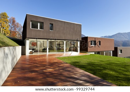 beautiful modern houses with garden, outdoor - stock photo