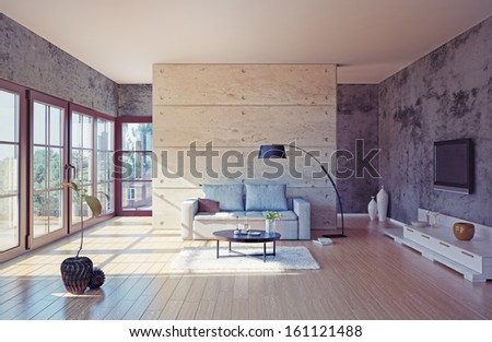 beautiful modern living room interior (illustration) - stock photo