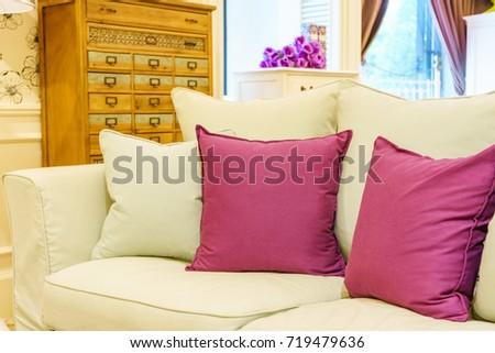 Beautiful Modern Living Room Purple Pillows Stock Photo 719479636 ...