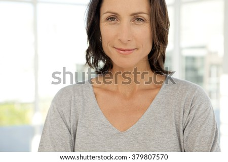 Beautiful modern middle-aged woman - portrait - stock photo