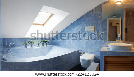 Beautiful modern penthouse, bathroom view - stock photo