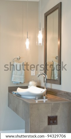 Beautiful Modern Sink and Vanity in New Home - stock photo