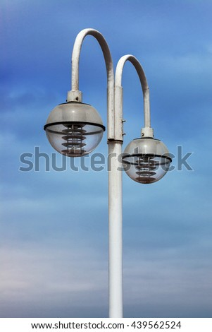 beautiful modern street lamp in the sky - stock photo