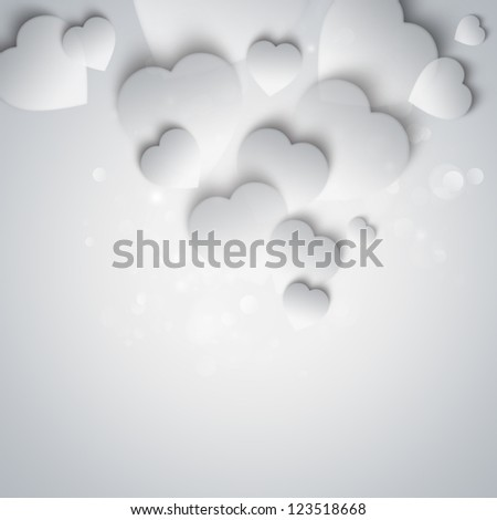 Beautiful modern valentine background with white hearts on gray background - stock photo