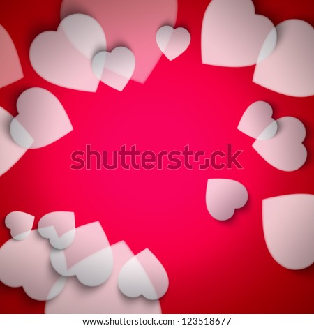 Beautiful modern valentine background with white hearts on red background