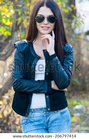 Beautiful modern young woman - stock photo