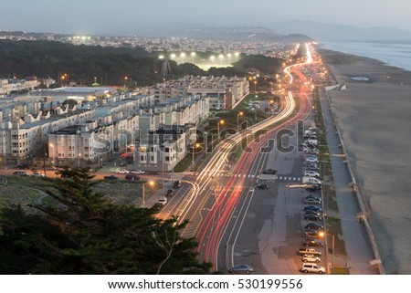 Beautiful moment of Great Highway, San Francisco during traffic