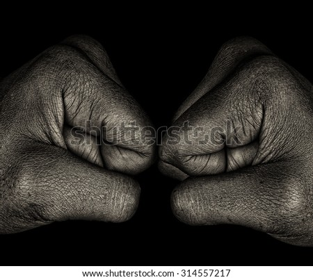Beautiful Monochrome art Image Of a Afro womans fists