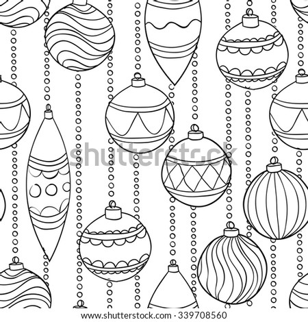 Beautiful monochrome, black and white seamless Pattern With Christmas Balls - stock photo