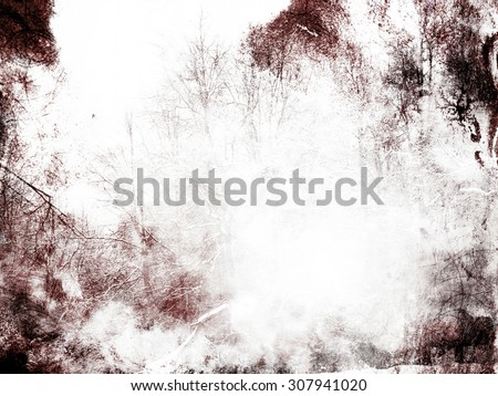 Beautiful monochrome dramatic background, artistic texture with dark clouds along the edges and semi-transparent silhouettes of forest trees in the main part of the picture. - stock photo