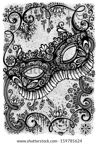Lace Masquerade Mask Template Printable Card with masquerade mask,