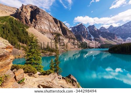 Beautiful Moraine lake in Banff National park, Canada - stock photo