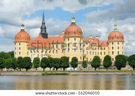 Beautiful Moritzburg Palace near Dresden, Germany in spring time. - stock photo