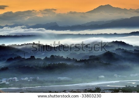 beautiful  morning in the mountains - stock photo