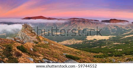 Beautiful morning mountains landscape and cloudy sky