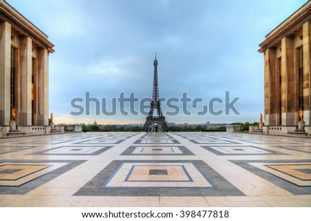 Beautiful morning view of the Eiffel tower seen from Trocadero square in spring in Paris, France - stock photo