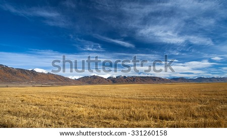 Beautiful morning view of the valley. Awesome golden colors of autumn forest in combination with the clear blue sky. - stock photo