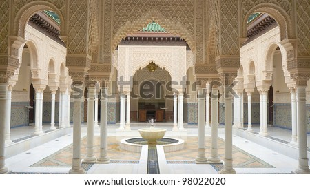 Beautiful Moroccan Architecture interior. - stock photo
