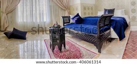 Beautiful moroccan room suite in arabic style - stock photo