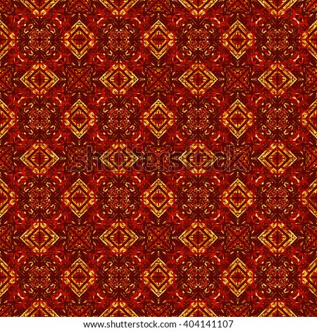 Beautiful moroccan textile background, orange and red wrapping paper. Luminous fabric, royal damask pattern with traditional ethnic elements.